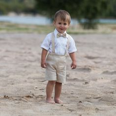 Ring bearer outfit Baby boy baptism clothes Boy linen suit First birthday shorts with suspenders Baby Wedding formal wear Light Beige outfit - Cute Adorable Baby Outfits Baby Boy Suspenders, Baby Boy Suit, Baby Boys, Infant Boys, Kids Boys, Beige Outfit, Beach Wedding Attire, Wedding Suits, Beach Weddings