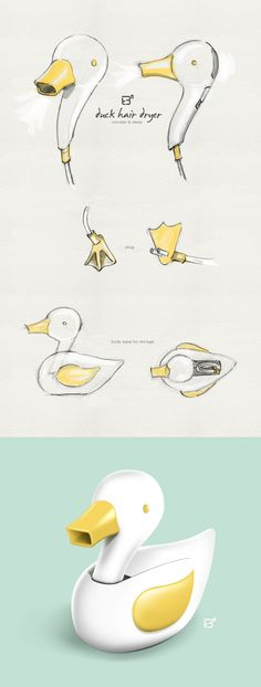 Duck Hair Dryer / Concept & Ideas (Product Design) #HairDryer