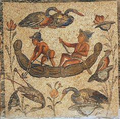 Fishermen and waterbirds, part of Villa Dar Buc Ammera, Libya, Roman era mosaic of the four seasons