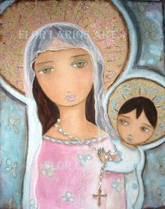 Mary with the Rosary  Folk Art  Print from Painting by FlorLarios, $15.00