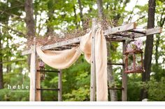 wedding backdrop with ladders   Shane & Natalie – Married!   Hetler Photography Blog