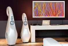 """#LoudspeakersInTheKnow Vivid Audio Loudspeakers GIYA G1 and G3, #Yuroz """"Purple with Red and Yellow"""", Symbiosis Collection"""