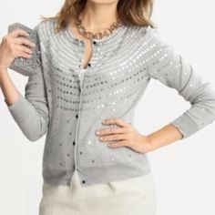 HOLD  🎀host pick🎀Merino fine wool sequin sweater New. Very high quality button up sweater with sequin detail and beading. 100% merino extra fine wool. Very soft. Banana Republic Sweaters