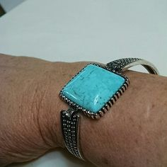 LAST ONE    Turquoise large square stone B275 t_j designs Jewelry Bracelets