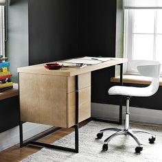 ~$500 Flat-Bar Storage Desk #WestElm lights, westelm, storage spaces, office desks, wood, storag desk, flats, office chairs, west elm