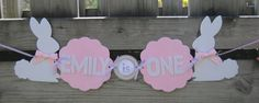 Perfect for an Easter season or spring birthday! Bunny Rabbit Birthday High Chair Banner by Quax on Etsy, $13.50