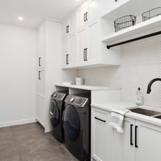 Liberty - DLUX Design & Co Liberty- Interior Design Portfolio, Winnipeg. Modern Black and White Laundry Room with Penny Tile B Garage Laundry Rooms, White Laundry Rooms, Modern Laundry Rooms, Laundry Room Layouts, Laundry Room Remodel, Laundry Room Organization, White Rooms, Mud Rooms, Laundry Cupboard