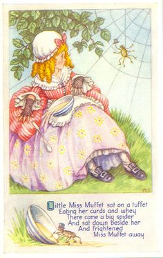 Chrome Postcard Little Miss Muffet Sat on a Tuffet Eating Her Curds and Whey Nursery Rhymes Nursery Rhymes Poems, Nursery Rhyme Characters, Rhymes For Kids, Children Rhymes, Pomes, Vintage Nursery, Vintage Art, Mother Goose, Pics Art