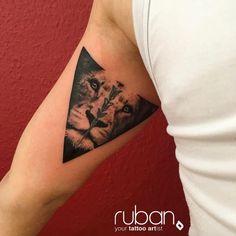 Triangle lion tattoo by Ruban