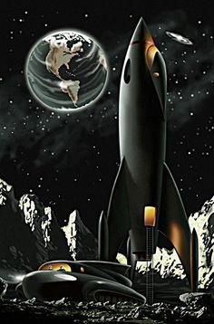 comic book cover art pulp retro futurism back to the future tomorrow tomorrowland space planet age sci-fi airship steampunk dieselpunk alien aliens martian martians BEMs BEM's