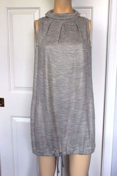 BSB Collection European Gray Metallic Sleeveless Mini Sweater Dress Tunic Top S #BSBCollection #SheathTank