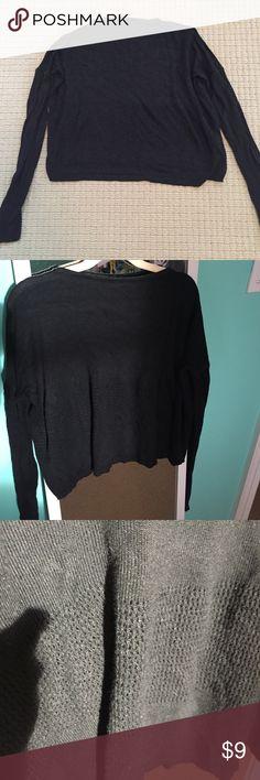 Brandy Melville long sleeve cropped sweater Long sleeve black soft cotton Brandy sweater top with center detail Brandy Melville Tops Tees - Long Sleeve