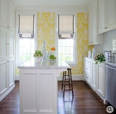 kitchen. yellow wallpaper