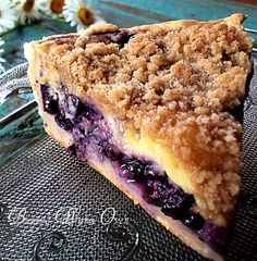 Creamy Blueberry Pie The pie has a layer of custard made with sour cream , not milk that makes it creamy and blueberry delicious ! I make this with thawed frozen blueberries which are cheaper than fresh this time of year. Perfect Pie for Thanksgiving!
