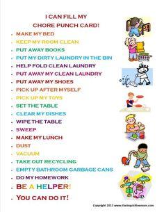 Chore Punch Card Motivators - via The Inquisitive Mom