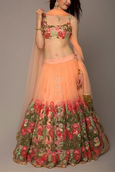 Floral coral lehengas priced under 10k #Frugal2Fab