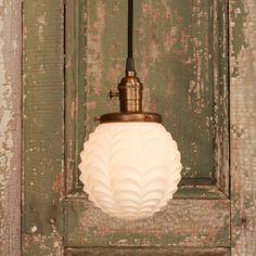 Vintage white glass light round