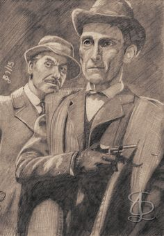 Watson (Andre Morell) and Holmes (Peter Cushing) in 'The Hound of the Baskervilles' (1959). [I know it's a Sherlock Holmes mystery, but I also think it's one of the great horror stories, that's why it's in my Horror section. So there! :) ) Freehand sketch using HB pencil and eraser. Darkened and tinted digitally.