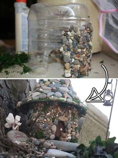 Plastic Bottle Stone Fairy House