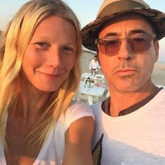"Gwyneth Paltrow and Robert Downey Jr., August 16, 2015 - pictured in the Hamptons. (From Gwyneth's Instagram - she wrote ""robertdowneyjr how I love thee #pepperony)"