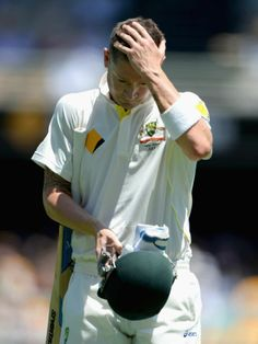 Clarke falls just after lunch on day one - Australia captain Michael Clarke leaves the field after being dismissed by Stuart Broad of England during day one of the First Ashes Test match between Australia and England at The Gabba on November 21, 2013 in Brisbane, Australia.  Getty Images: Gareth Copley