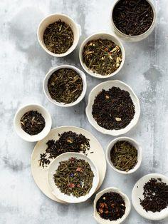 a selction of loose leaf flavored tea blends.