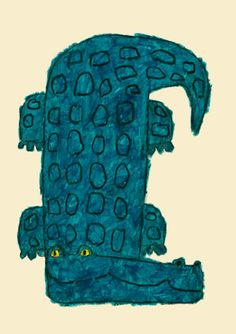Alligator by Yusuke Yonezu Illustration Jungle, Sketchbook Inspiration, Art Graphique, Outsider Art, Illustrations And Posters, Art Plastique, Elementary Art, Animal Paintings, Japanese Art