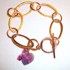 Etched Copper Charm Bracelet with Purple Opal by BlissfulVine, $20.00