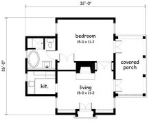Looking for the best house plans? Check out the Garden Cottage plan from Southern Living. One Bedroom House Plans, 1 Bedroom House, Cottage Floor Plans, Cabin Floor Plans, Cottage Plan, Garden Cottage, Cottage Homes, Cottage Office, Simple Floor Plans