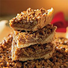 Pecan Squares | Use salted butter and bring the filling to a rolling boil before pouring it over the crust. | #Thanksgiving Dessert Recipes