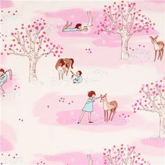 kids in forest fabric rosa Michael Miller Wander Woods 1