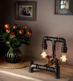 Industrial Lighting Steampunk Pipe Lamp Industrial Table Lamp with Dimmer