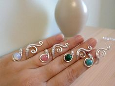 Adjustable wire Ring Silver Ring Swirl Ring Malachite Ring