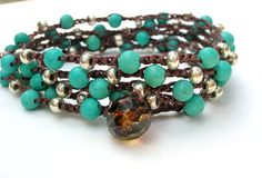 Turquoise Crochet Wrap Bracelet...