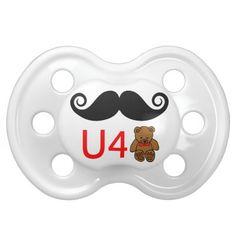Mustache U 4 Teddy Bear Baby Pacifiers