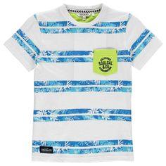 SoulCal All Over Print Pocket T Shirt Junior Boys Wht Blu Stripe