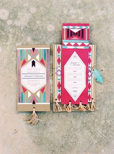 Beautiful Aztec style Ibiza wedding invitations...
