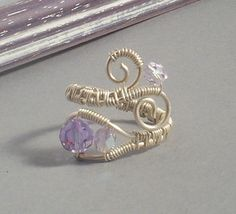 Handmade wire wrapped ring with alexandrite purple crystallized glass beads sterling silver filled wire