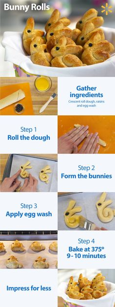 Easter dinner wouldn't be complete without …Bunny Rolls of course. This Helpful Hack is so fun and easy to make. Using crescent roll dough form the bunnies, then add raisins for eyes. After applying an egg wash, toss them in the oven at 375 for 9 to 10 minutes to bake until golden brown. These Bunny Rolls will add a lot of fun to your table this year. Get everything you need to make your Easter meal at Walmart.