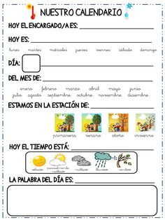 COSITAS PARA EL COLE Calendar Worksheets, Calendar Activities, Teacher Worksheets, Teacher Resources, 2nd Grade Classroom, Flipped Classroom, Spanish Classroom, Spanish Language Learning, Teaching Spanish