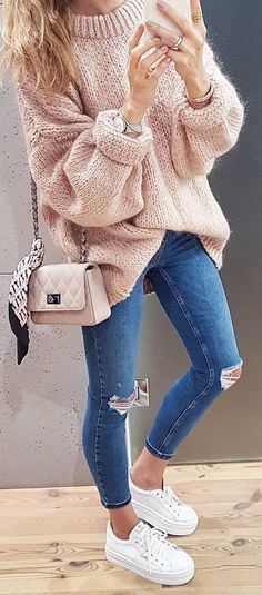 #fall #outfits pastel warm sweater ripped jeans sneakers