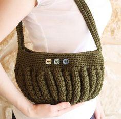 Forest Green Crochet Handbag. $35.00, via Etsy.