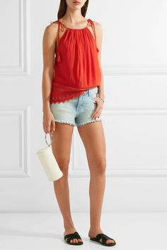 Alice Olivia - Danya Lace-trimmed Crepon Camisole - Red - x large