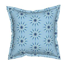 Serama Throw Pillow featuring blue star geo by dnbmama | Roostery Home Decor