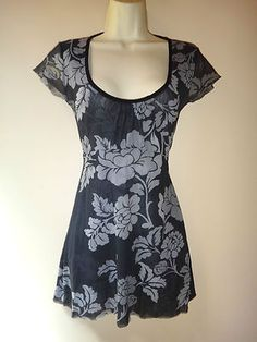 SWEET PEA Anthropologie Sexy Low Cut Black Belted Charcoal Mesh Babydoll Top s/M