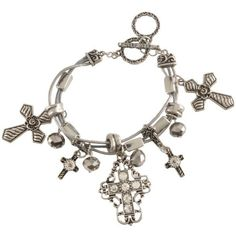 Bedecked Silver-tone Cross Dangle Bracelet ($22) ❤ liked on Polyvore
