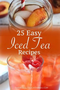 Cool off this summer with these delicious and easy homemade iced tea recipes. They are great unsweetened or sweet. Great for a BBQ, picnic or just a relaxing day at home. Its easy to learn how to make iced tea! Basic Iced Tea Recipe, Homemade Iced Tea, Homemade Detox, Iced Tea Latte Recipe, Sweet Tea Recipes, Iced Tea Recipes, Fruit Tea Recipes, Easy Drink Recipes, Picnic Recipes