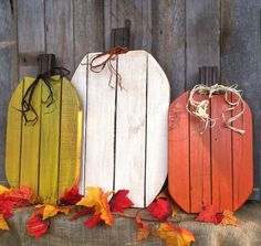 Awesome Fall Pumpkins! Pallet Wood Pumpkins Rustic Fall Autumn Thanksgiving or Halloween Decor (Set of 3) by LowerArkCrafts on Etsy https://www.etsy.com/listing/243301477/awesome-fall-pumpkins-pallet-wood