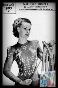 PDF Knitting Pattern for a Reindeer & Christmas Tree Fair Isle Jumper - 1940's -  Instant download