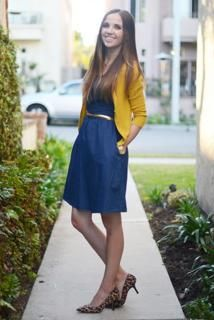 I love this so much it's ridiculous. Denim simple dress with yellow cardi.